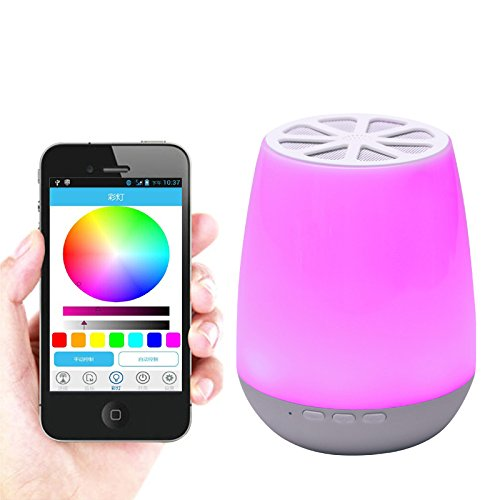 Smart App Control LED Bluetooth Speaker ,HJD Light Night Lamp Colorful Night Lights Hands Free Alarm Clock App Control for Home, Spa, Bedroom, Office by HJD LIght (Image #4)