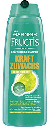 Garnier Fructis Shampoo Kraftzuwachs Sensitiv / Kräftigendes Haarshampoo mit aktiv Fruchtkonzentrat ohne Parabene, ohne Silikone (für feines, kraftloses Haar) 3er Pack - 250 ml