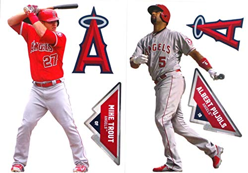 FATHEAD Los Angeles Angels Mini Graphics, 2 Players, Mike Trout + Albert Pujols + 2 Logo Official MLB Vinyl Wall Graphics 7