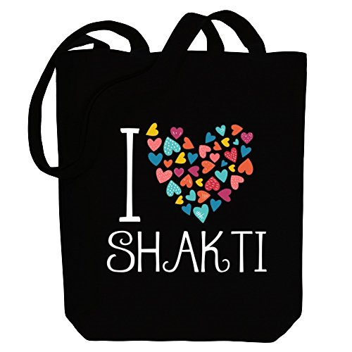 Idakoos I love Shakti colorful hearts - Weibliche Namen - Bereich für Taschen