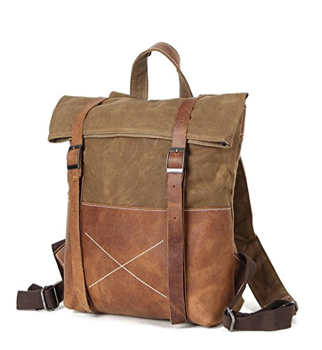 Gray Coffee Canvas Waxed Bag Hunting Cloth Trekking Men Vintage Nongniml Waterproof Backpack Waxed Backpack Thicken Bag Shoulder Reinforced Camp FTHqU