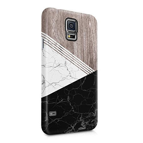 White & Black Cracked Marble & Oak Wood Blocks Hard Plastic Phone Case For Samsung Galaxy S5 (Black Pentagon Case)