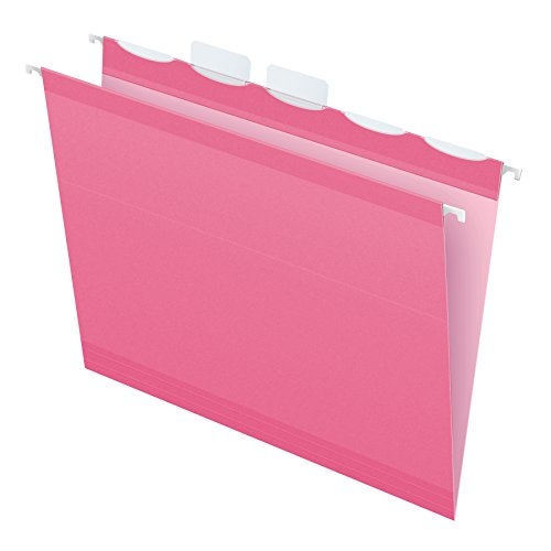 Pendaflex Color Hanging Folders, Built-In 1/5 Tab, Letter, Pink, 20/BX (Pink Hanging File Folders)