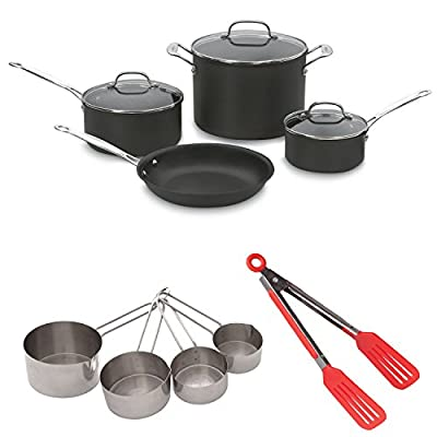 Cuisinart 66-7 7PC Chefs Classic Non-Stick Hard Anodized Cookware Set with 8-inch Tongs & Measuring Cup Set