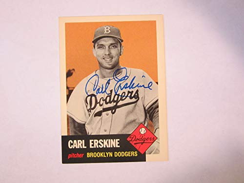 (1953 Topps ARCHIVE #308 CARL ERSKINE signed card)