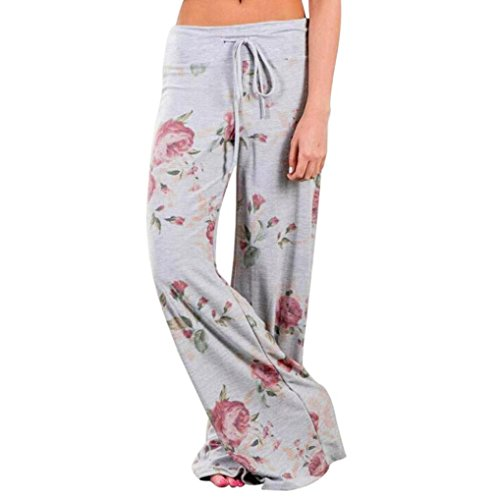 Pocciol Women Loose Leggings, Floral Prints Long Palazzo Pants Drawstring Gray Wide Leg Pants
