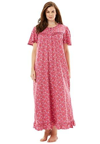 Pure Cotton Sleepshirt (Dreams & Co. Women's Plus Size Long Cotton Gown reg; Bright Berry Floral,2X)