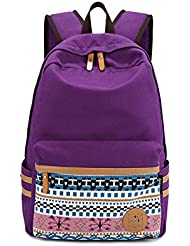 MissFox Canvas Zip Bohemia Boho Style Backpack School College Laptop Bag