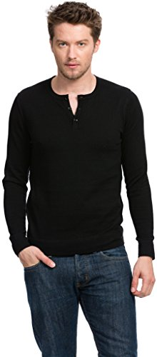 (Citizen Cashmere Henley Shirt - Cotton Cashmere - by (Black M) 42 911S-02-02)