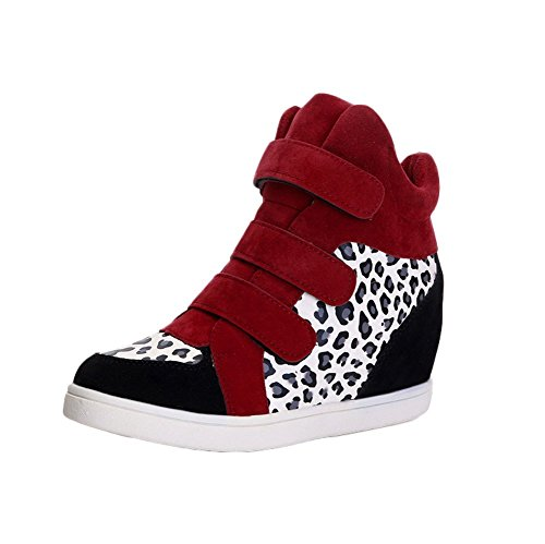 PET WITH ME Fashion Women's Fashion Canvas Magic Stick High-Heeled Sneaker Red Leopard6 B(M) US Hot Sell.
