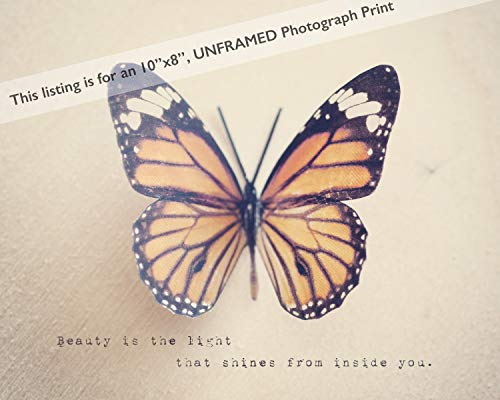 Butterfly Photo Print with Motivational Saying, Inspirational Home Decor Gift for Girls Women Her
