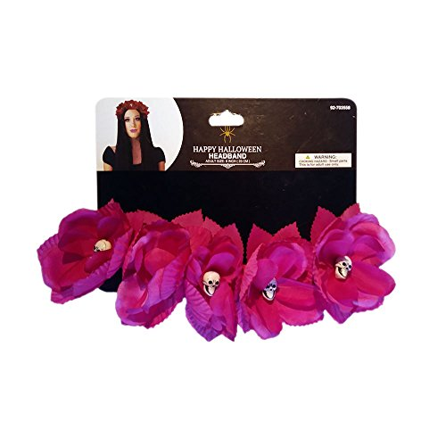 Razzle Dazzle Celebrations Day of the Dead Flower Headband with Skulls costume accessory (pink)