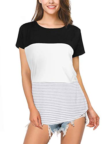 Amoretu Womens Short Sleeve Round Neck Triple Color Block Stripe T-Shirt Top(Black,XXL) ()