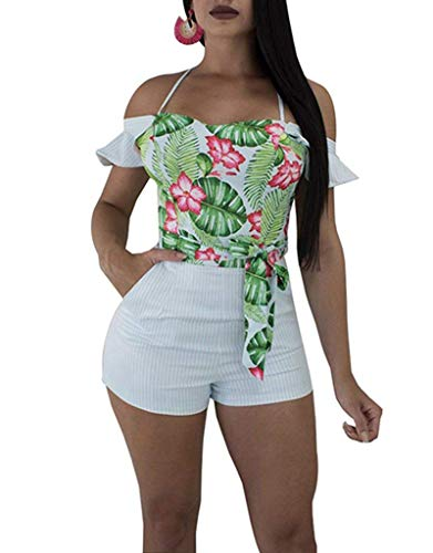 (Women's Floral Print Strap Bodycon Short Jumpsuit Romper Off Shoulder Ruffle Sleeve Belted Striped Shorts XX-Large Light Blue)