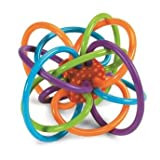 Rattle Ball Toy for 1-12 Month Toddlers – Safe, Teethable and Flexible Plastic Loops – BPA free – Helps Develop Baby's Intelligence – Includes a Colorful Rattle Ball Inside for Pleasant Additional Sou