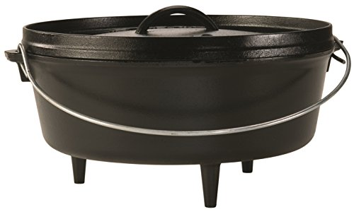 - Lodge 6 Quart Camp Dutch Oven. 12 Inch Pre Seasoned Cast Iron Pot and Lid with Handle for Camp Cooking