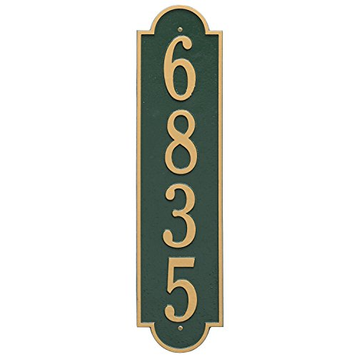 (Whitehall Products Rectangular Green/Gold Richmond Estate Wall One Line Vertical Address Plaque)