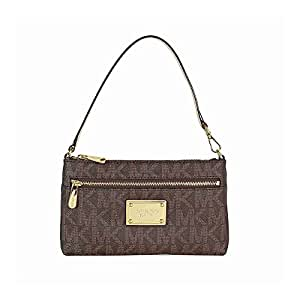 Michael Kors Jet Set Large Wristlet MK Logo PVC Brown