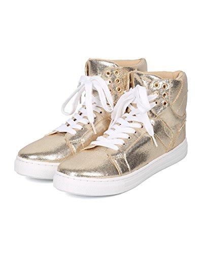 Qupid Kvinnor Metallic High Top Sneaker - Casual, Trendig, Utekväll - Snörning Sneaker - Gd65 Av Guld