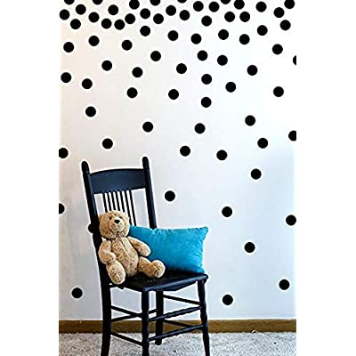 The Open Canvas Wall Decal Dots (200 Decals) | Easy to Peel Easy to Stick + Safe on Painted Walls | Removable Vinyl Polka Dot Decor | Round Sticker Large Paper Sheet Set for Nursery Room (Black): Home & Kitchen