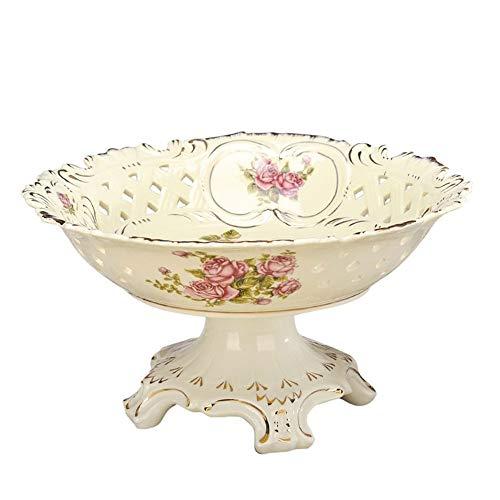 LiBetyd New Vintage China Pedestal Ceramic fruit Bowl Hand Make Hollow Out Golden Rim flower food Porcelain Bowl Home Decorative (Color : -