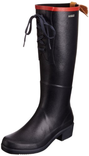 AIGLE Womens Miss Juliette Laced Boots Marine/Rouge