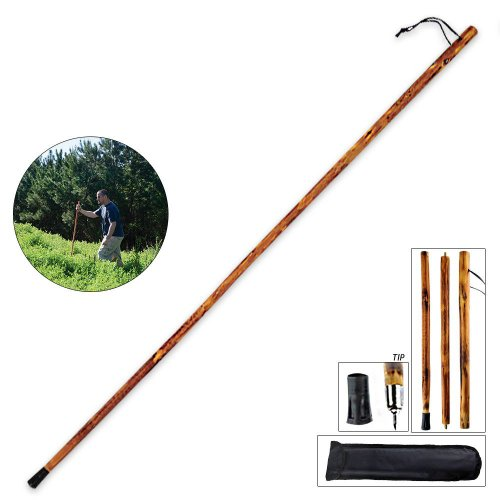 55″ 3-Section Natural Wood Walking Hiking Stick – Disassembles to 18″ Length for Easy Pack and Carry – Includes Backpack Pouch – Two Tips, Outdoor Stuffs