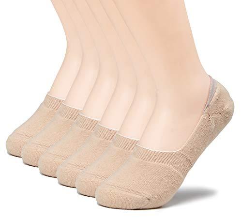 (Leotruny 6 Pairs Women's Thick Cushion Athletic Cotton Non Slip Low Cut Falt Liner No Show Socks (Women shoe size:8.5-11, C05-Beige))