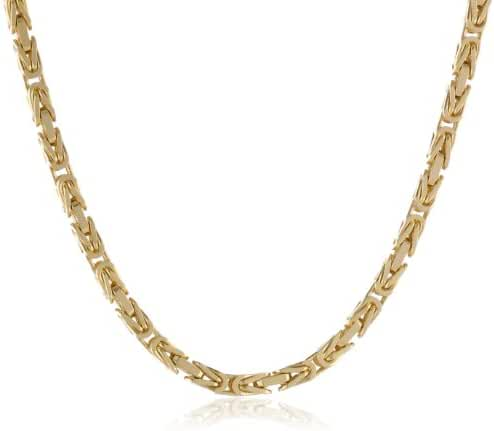 Men's 14k Gold 2.5mm Square Byzantine Chain Necklace