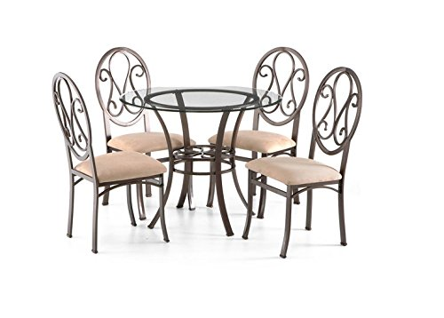 Beautiful Round Modern Dining Table Set with 4 Upholstered Chairs