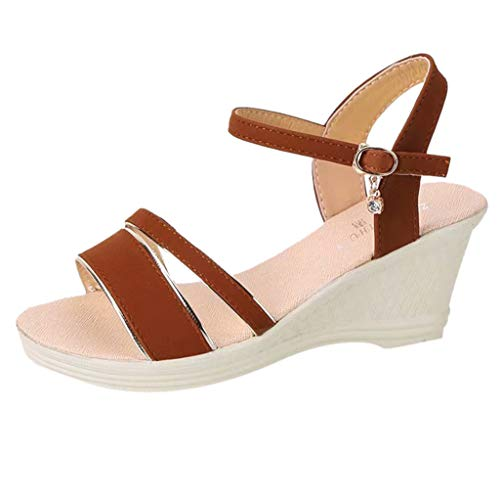 feb615e3cfa DATEWORK Women Peep Toe Breathable Beach Sandals Rome Buckle Strap Casual  Wedges Shoes Brown