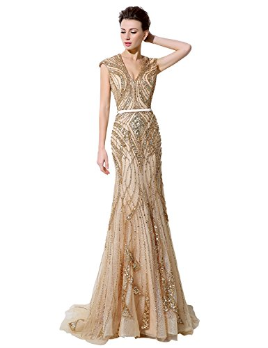 Sarahbridal Women's Mermiad Prom Dresses Long Formal Evening Gowns Beaded Crystal Champagne US10