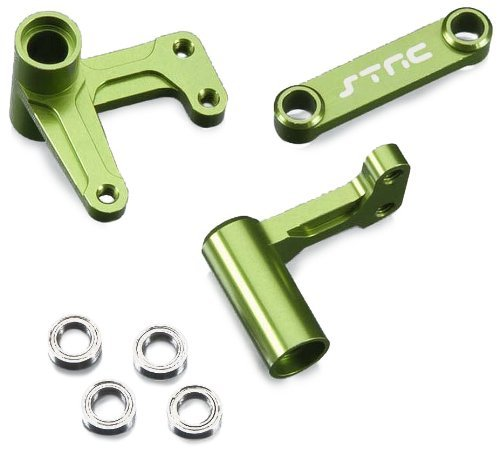 ST Racing Concepts ST3743XG Aluminum Steering Bell Crank System with Bearings (Green) - Steering Bell Crank System