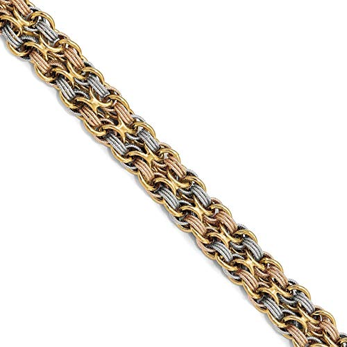 Lex & Lu Leslie's 14k Tri-color Gold & Textured Fancy Link Bracelet LAL47361-Prime