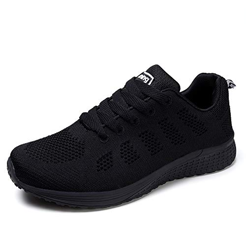 Womens Sneakers Ultra Lightweight Breathable Mesh Athletic Walking Running Shoes Black 8.5