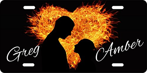 - Personalized Custom Couple Embracing in front of a Heart of Fire License Plate Metal US Seller