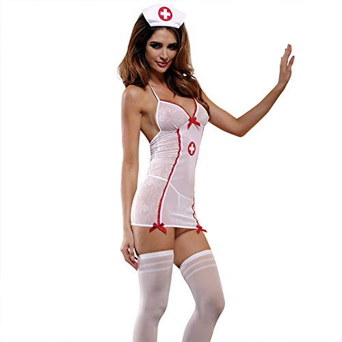 Zanyware Womens Sexy Valentine Nurse One Piece Costume Outfit Set with Headpiece and Stocking]()