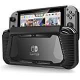 Nintendo Switch Case, Soft TPU Clear Protective Case Cover with Shock-Absorption and Anti-Scratch Design for Nintendo Switch 2017 with HD Glass Screen Protector (Black/Clear)