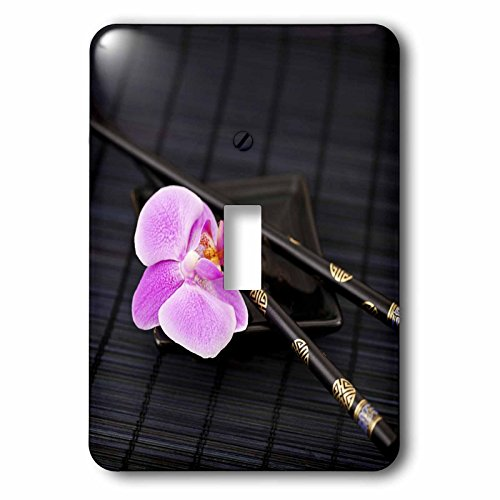 Flower Chop Plate - 3dRose Andrea Haase Nature Photography - Pink orchid in Asia style with chop sticks - Light Switch Covers - single toggle switch (lsp_266539_1)