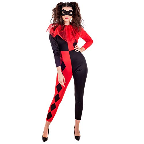 fun shack Womens Harlequin Costume Adults Comic Book Jumpsuit Cosplay Outfit - X-Small