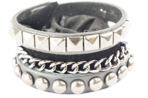 Punk Gothic 3 Layer Stud Chain Faux Black Leather Wide Bracelet Wristband