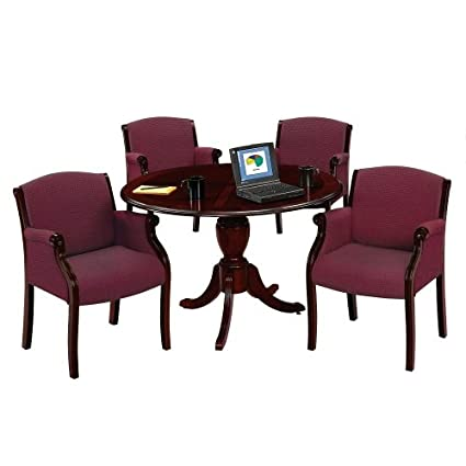 Amazoncom Keswick Round Conference Table And Guest Chairs - Round conference table for 4
