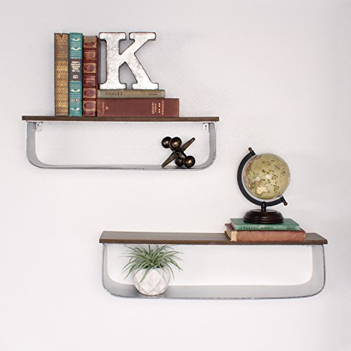 Kate and Laurel Thatcham Wood and Metal Floating Shelf 2 Piece Set, Silver by Kate and Laurel