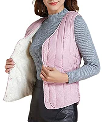 Women's Quilted Zip Up Lightweight Fleece Lined Padding Vest 3 L