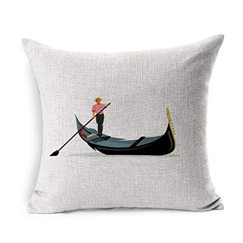 Ahawoso Linen Throw Pillow Cover Square 16x16 Logotype Italy Venice Gondola Gondolier Rowing City Oar Italian Boat White Travel Love River Pillowcase Home Decor Cushion Case (Old Man And The Sea Boat Name)