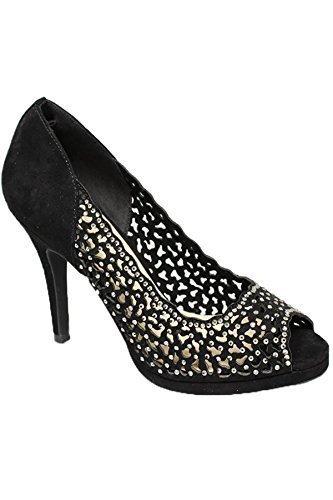 Boutique Solo Zapato Salón Negro Pedrería Cierre Zafiro Punta Abierta flr445 De Tacones Margo Cierre Glamoroso Bolso dwRR1aZxq6