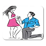 "Emvency Mouse Pads Couple Drawing Man Asking Woman to Marry Him Bride Engagement Mouse Pad 9.5"" x 7.9"" for Notebooks,Desktop Computers Mouse Mats, Office Supplies"