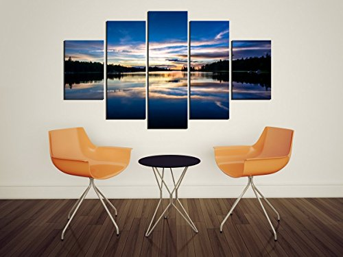 PulsatingFingertip-5 Panel Unframed Sunset Mountains Landscape Oil Painting Wall Art Canvas Print - Uva Oregon