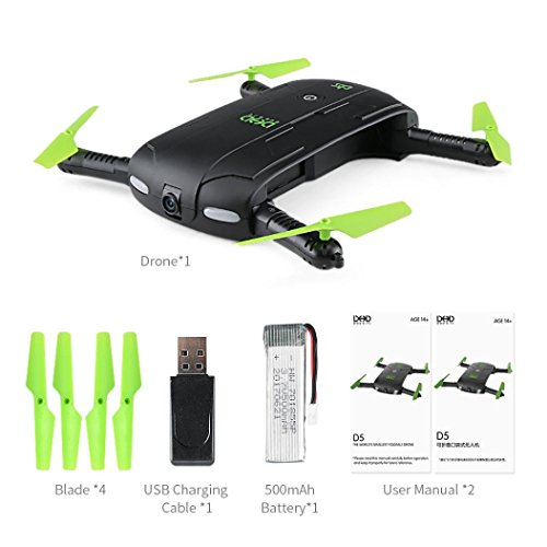 RC Helicopter, JJRC DHD D5 Foldable RC Drone 30W WiFi FPV Camera Altitude Hold Phone Control Mini RC Quadcopter Helicopter 2.4 Ghz Metal
