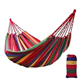 Cypress Shop Portable Cotton Hammock Hanging Rope Swing Fabric Canvas Canopy Bed Camping Beach Sleeping Sleeper 1 Person Outdoor Indoor Rainbow Colors